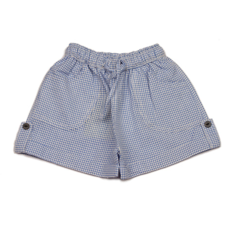 Blue Gingham checks infant boys Cotton Shorts