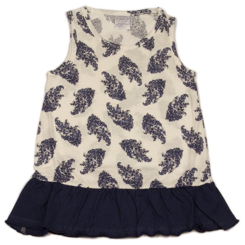 Aline white base navy flower printed top