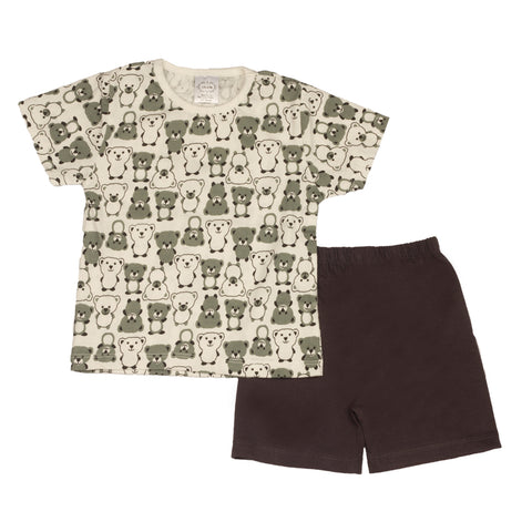Teddy printed infant boys t shirt with solid grey shorts
