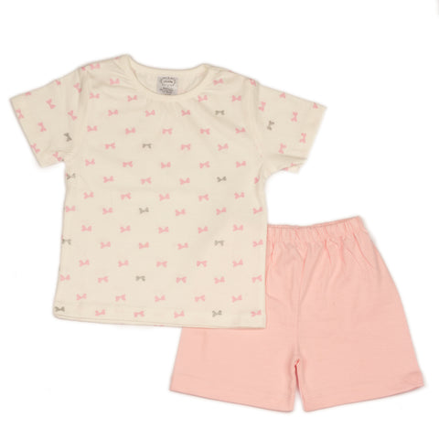 Tie bow printed infant boys t shirt with solid baby pink shorts