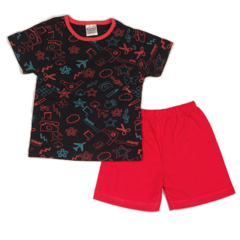 Craft printed infant boys t shirt with solid coral shorts