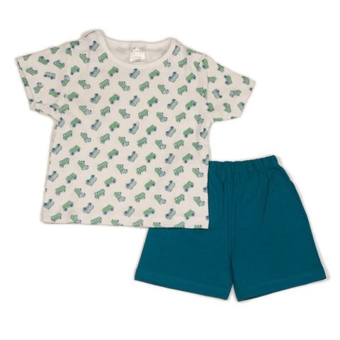 Car printed infant boys t shirt with solid green shorts