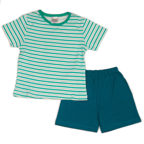 Green stripe printed infant boys t shirt with solid green shorts