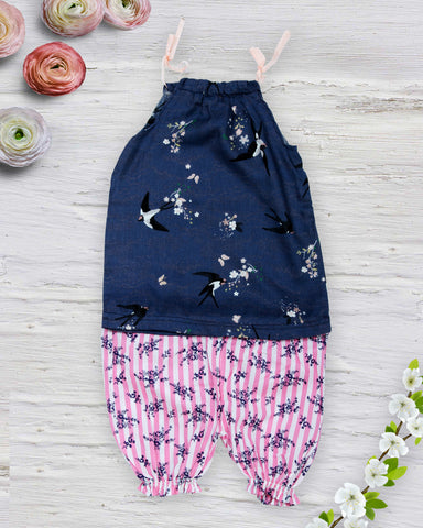 Flying birds print blue top with stripe shorts