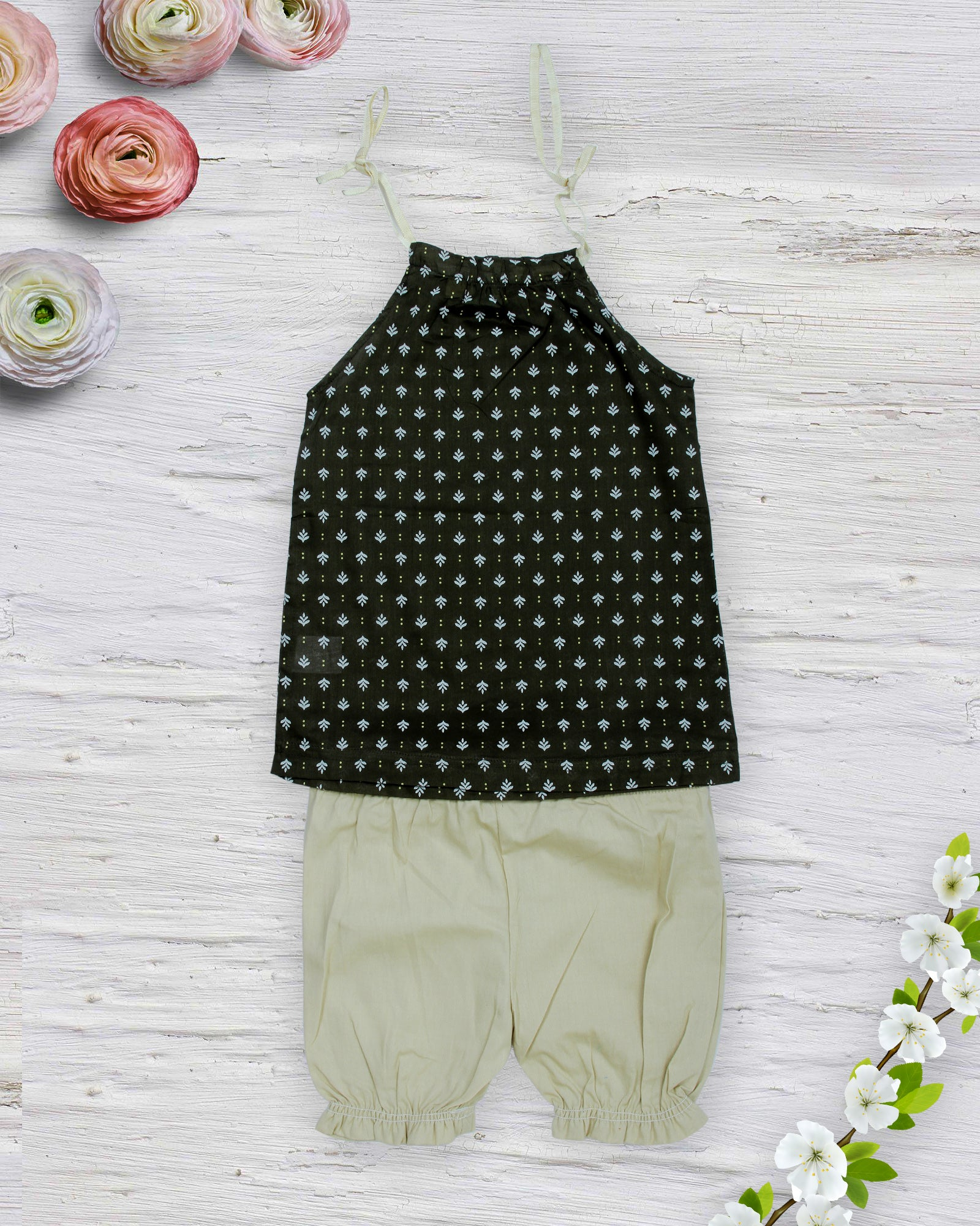 Green Leaf Printed Top With Beige Shorts ...