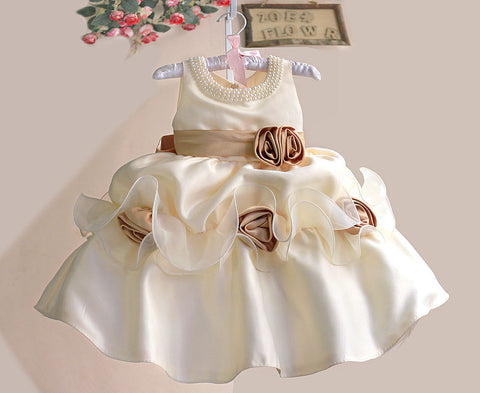 Pearls & Roses Dress- Ivory