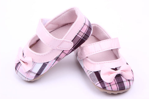 Pink Black Bow Checked Pre Walker Shoes