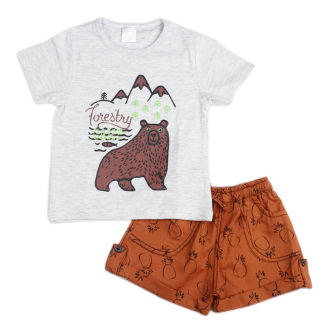 Forestry Printed boys knitted t shirt with aop shorts - Grey