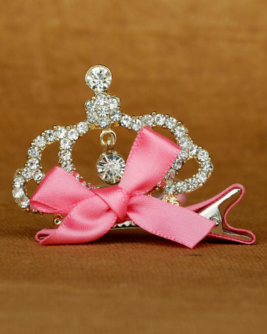 Glittery crown shaped alligator hair clip - pink