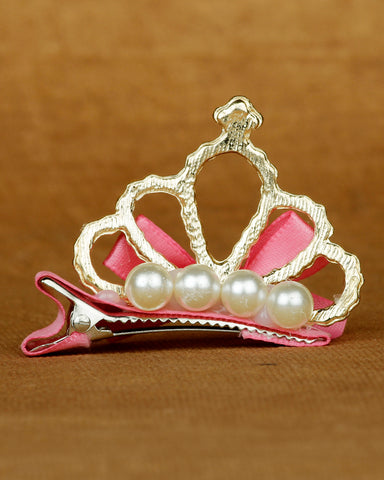 Alligator hair clip crown motif - pink