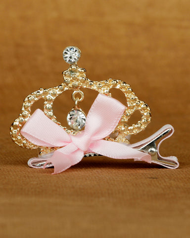 Alligator hair clip crown motif - Baby pink
