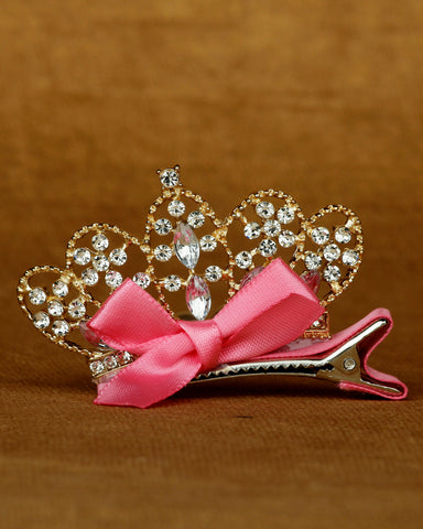 Alligator hair clip shiny leaf motif - Fuchsia