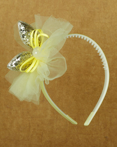 Sparkly bunny hair band- yellow