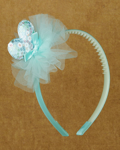 Sparkly heart  hair band - Sky Blue