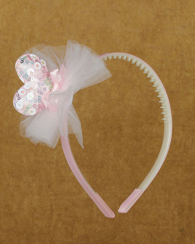 Sparkly hearted hair band - Light pink