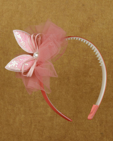 Sparkly bunny hair band - blush pink