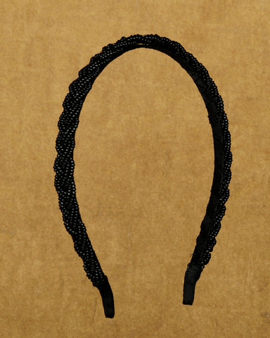 Shiny beaded hair band - Black