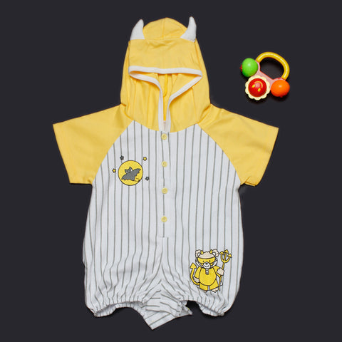 Yellow Dotted Romper with Hood