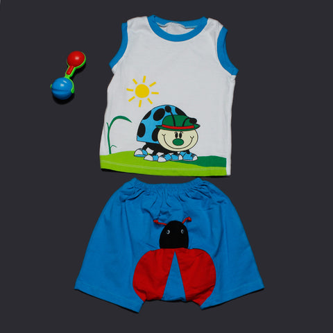 Blue LadyBug Vest and Shorts Set for Boys