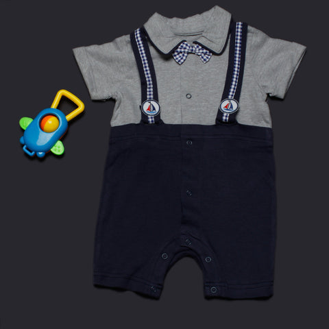 Blue Grey Suspender Suit