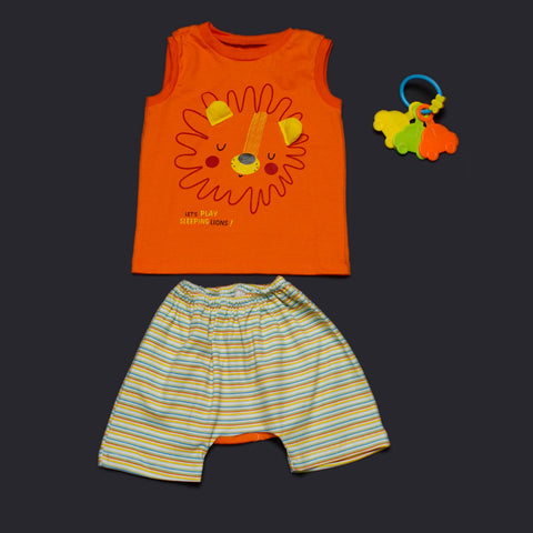 Cute Lion Vest and Shorts - Orange