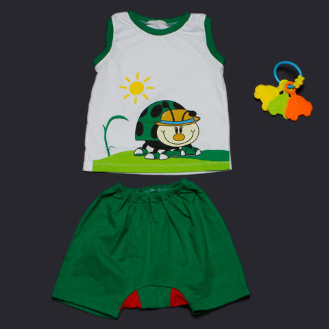 Green LadyBug Vest and Shorts Set for Boys