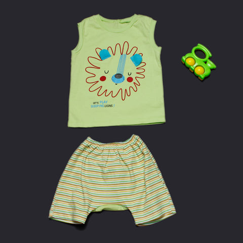 Cute Lion Vest and Shorts - Green