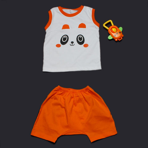 Panda Ears Vest Shorts Set - Orange