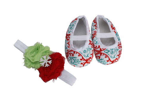 Pikaboo Newborn baby Headband baby Shoes combo - Red and Green
