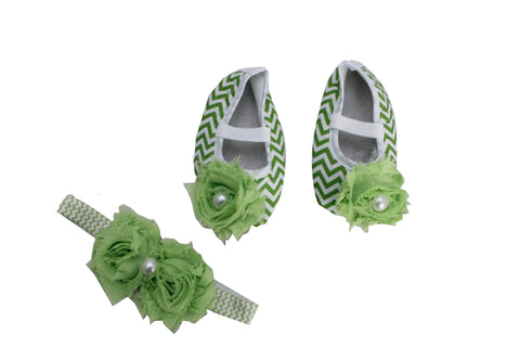 Pikaboo Newborn baby Headband baby Shoes combo - Chevron green