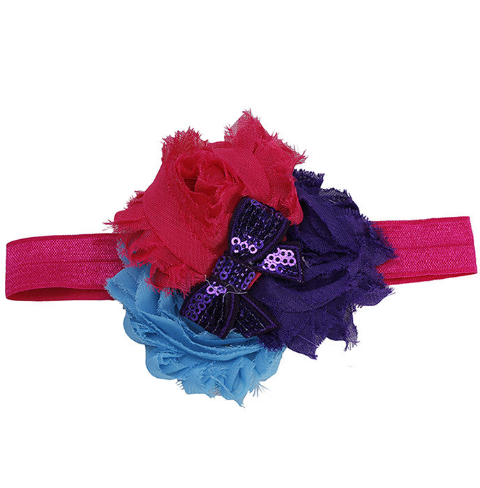 Three Color Blossoms headband - Pink Blue