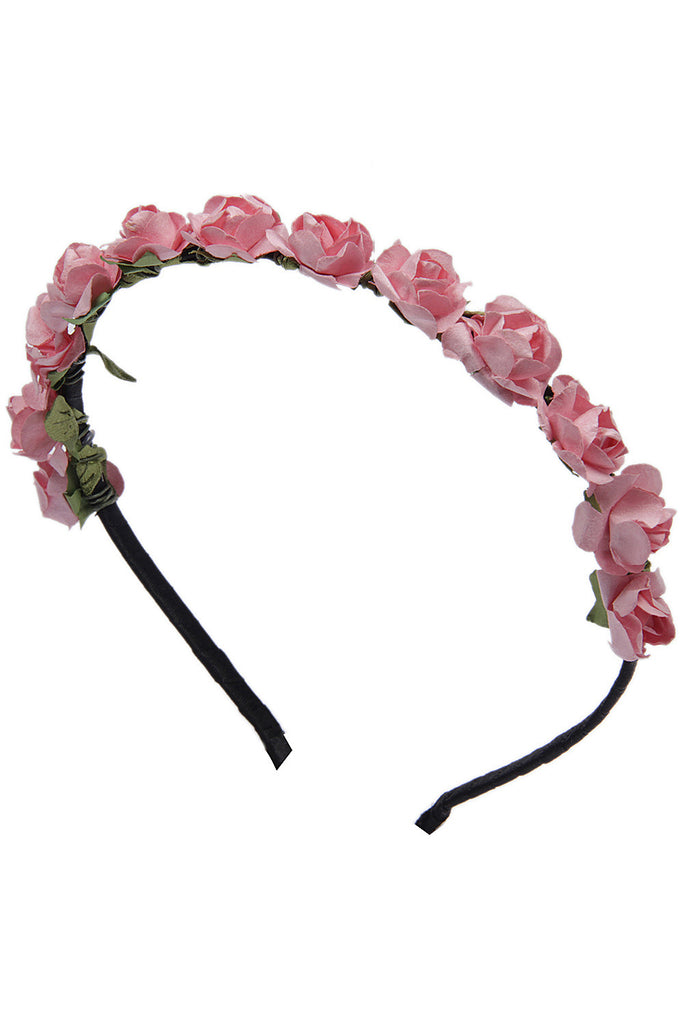 Pretty Pink Roses flower garland hairband