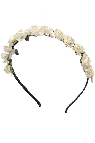 Off White Roses flower garland hairband