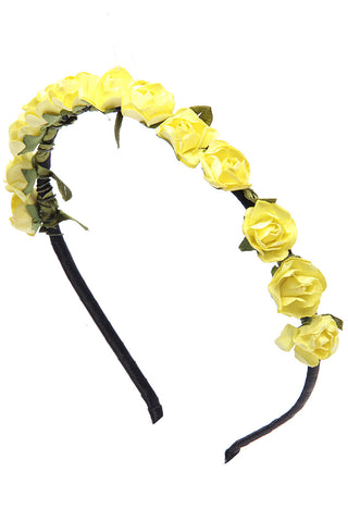 Lime Yellow Roses flower garland hairband