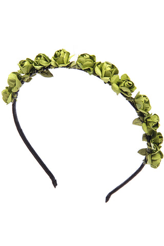 Olive Roses flower garland hairband