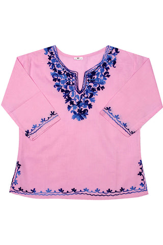 Light Pink Full Sleeves Kurti with Blue Embroidery