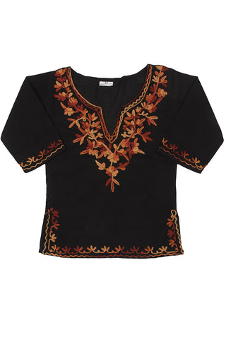 Black Full Sleeves Kurti with Orange Embroidery