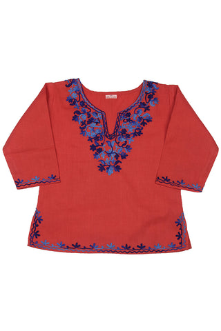 Red Full Sleeves Kurti with Blue Embroidery