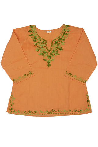Orange Full Sleeves Kurti with Green Embroidery