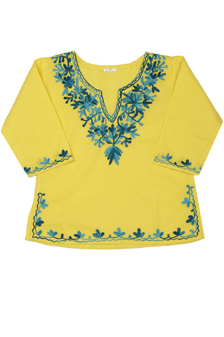Yellow Full Sleeves Kurti with Turquoise Embroidery