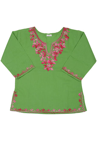 Green Full Sleeves Kurti with Pink Embroidery