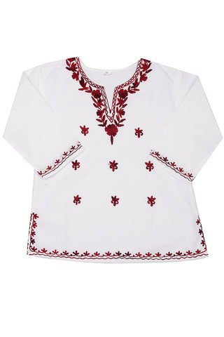 White Full Sleeves Kurti with Maroon All Over Embroidery