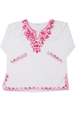 White Full Sleeves Kurti with Pink Embroidery
