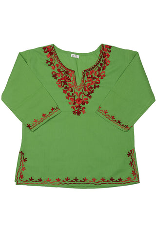 Green Full Sleeves Kurti with Red Embroidery