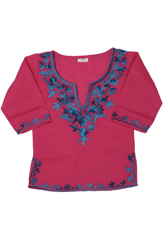 Dark Pink Full Sleeves Kurti with Blue Embroidery
