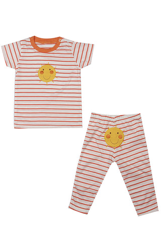 Smiley Face Striped Night Suit