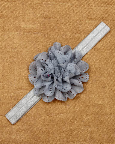 Eyelet flower headband- Grey