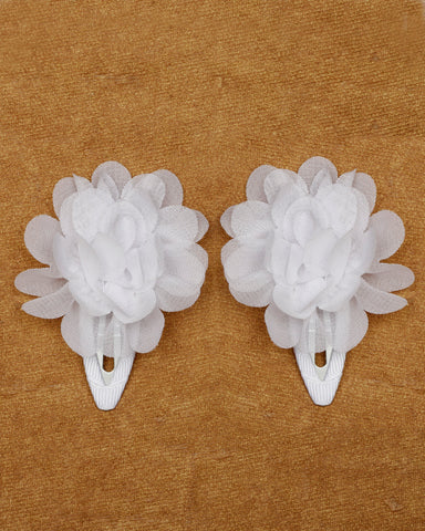 A pair of floral tic-tac hair clips - White