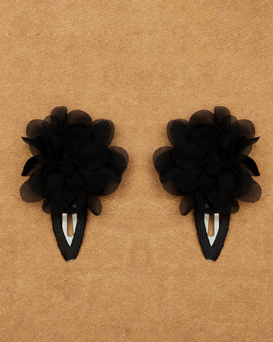 A pair of floral tic-tac hair clips - Black