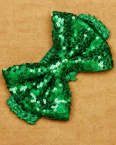 Big Sequin Bow Headband - Green